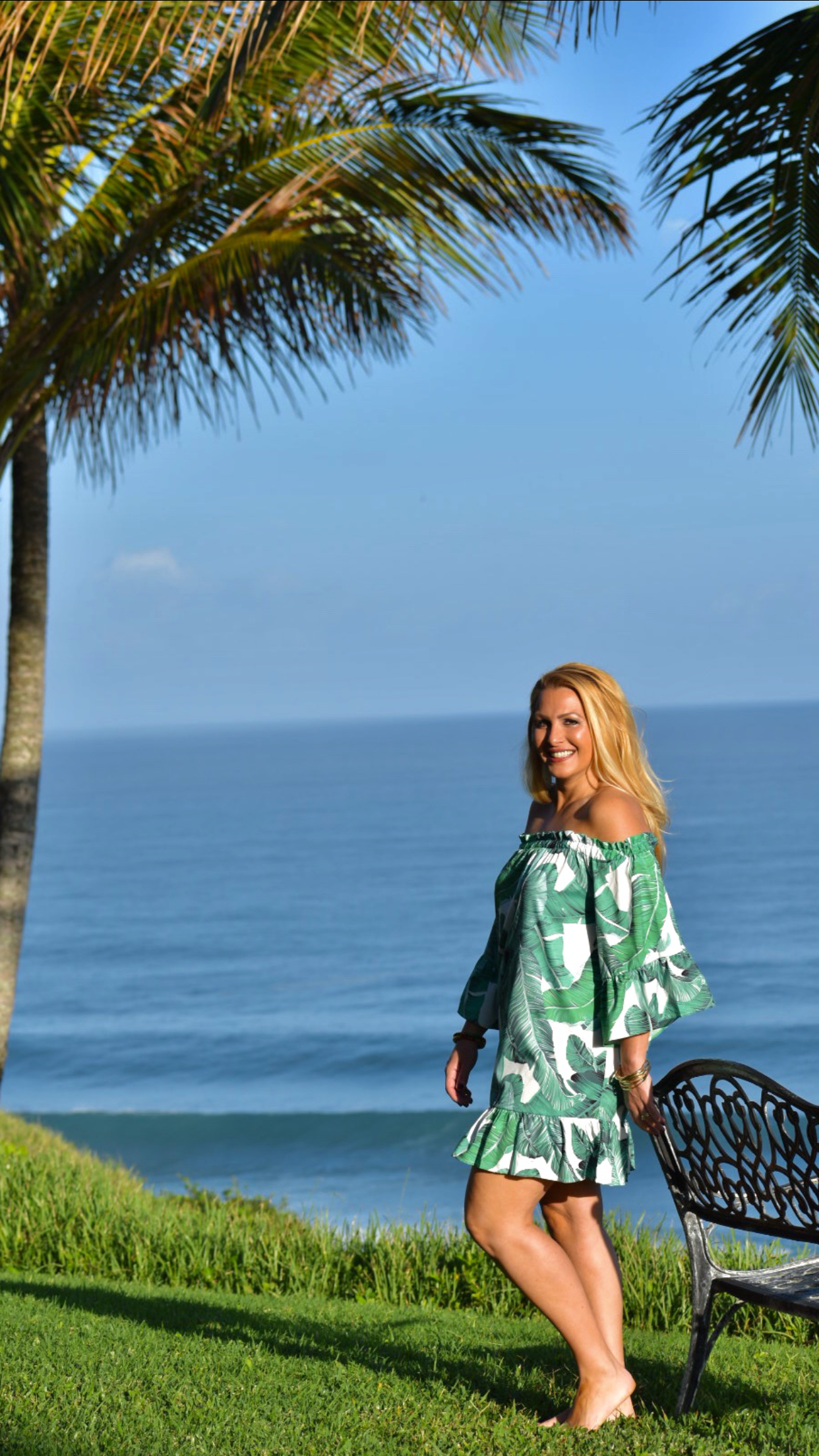 Banana Leaf Palm Print, Off the Shoulder Dress, Palm Print, Spring Style, Palm Print , Kauai, Princeville Hawaii