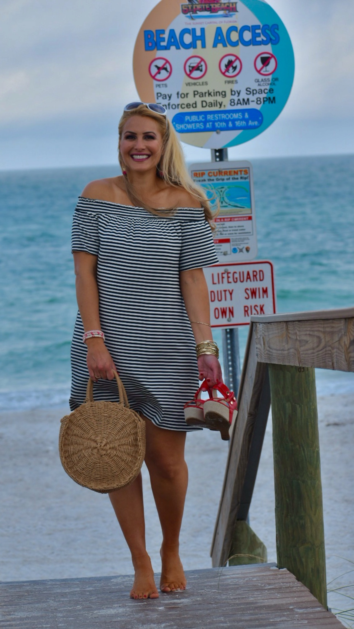 Black and White Striped Dress, Off The Shoulder Dress, Round Straw Handbag, Shift Dress, Red Wedge Heels in Saint Petersburg Florida