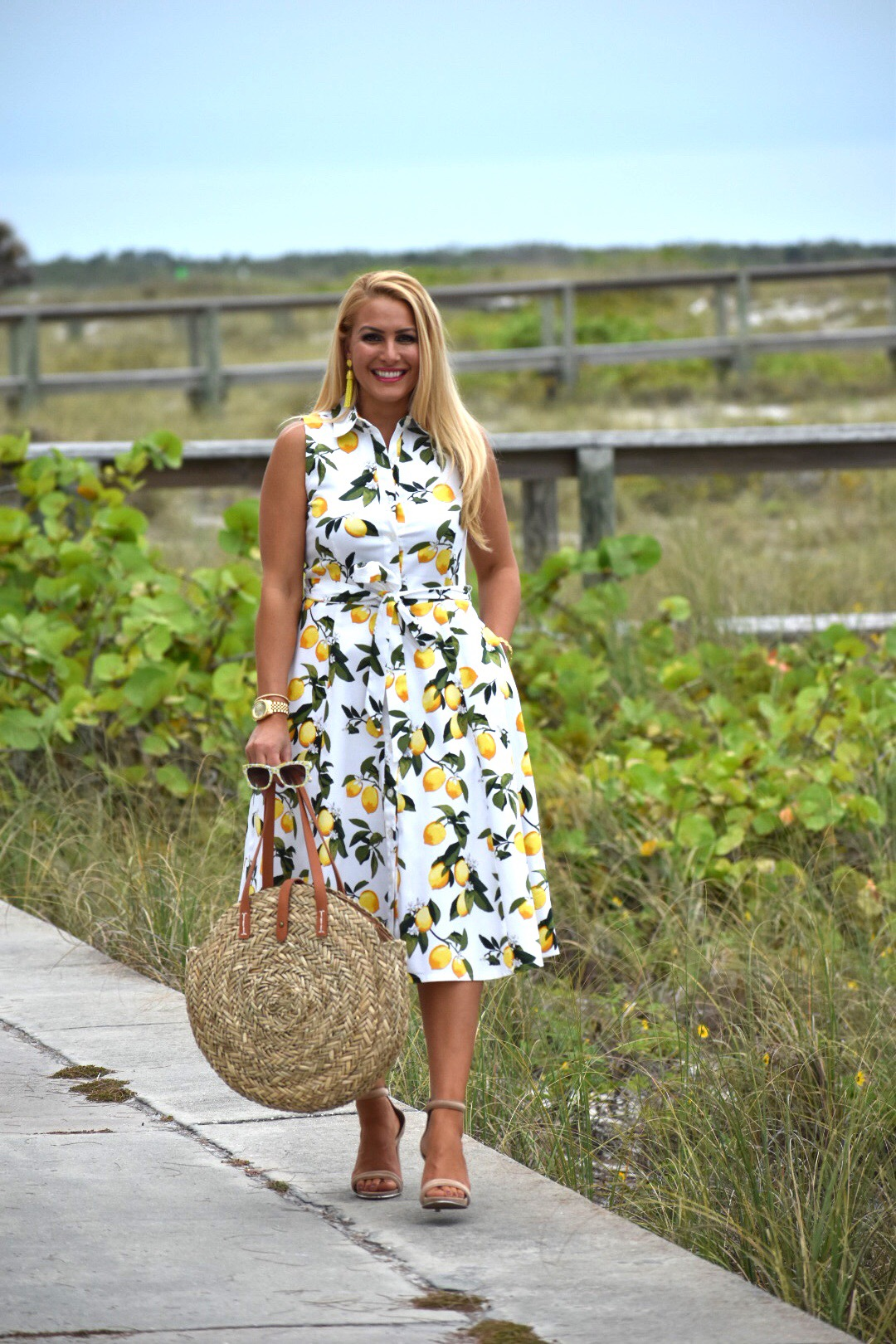 Lemon Print Dress, Midi dress, Chetta B Dress, Chetta B Lemon Dress, Tassel Earrings, Nude Heels, Round Straw Bag