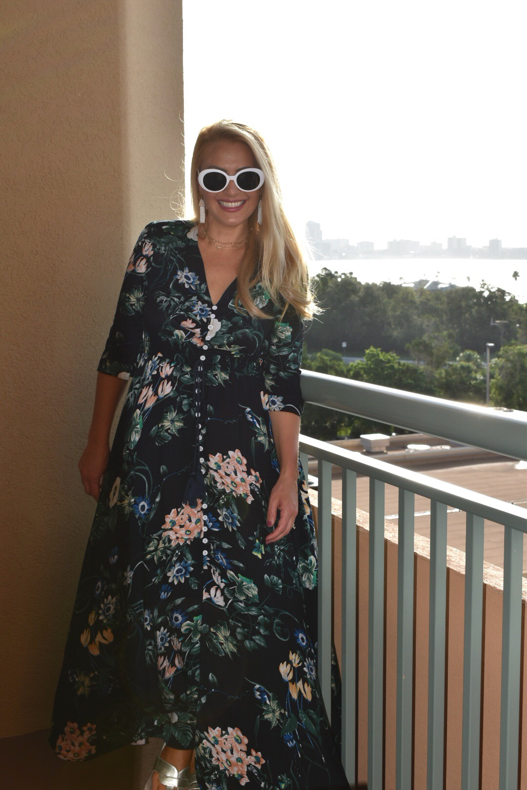 Calico Print Plunge Neck Button Front Maxi Dress, Bohemian Style Dress, Boho Chic, Floral Dress
