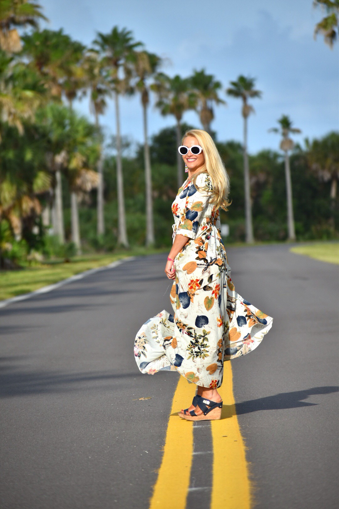 Bohemian Style, Floral Dress, White Oval Sunglasses and Wedges in Fort DeSoto Florida