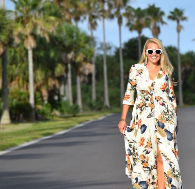 Boho Chic, Bohemian Style, Floral Dress, White Oval Sunglasses and Wedges in Fort DeSoto Florida