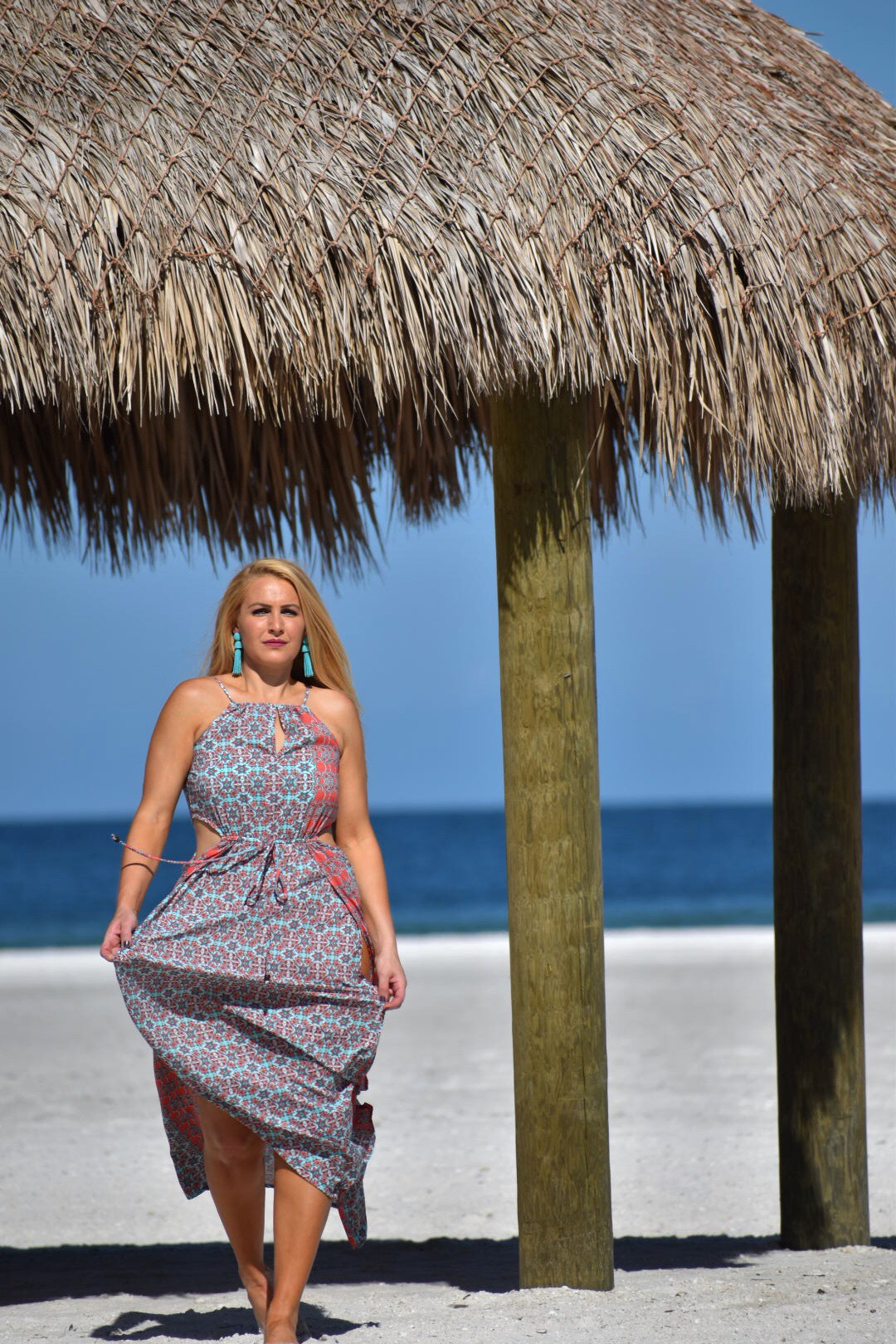 Raga Dress, Boho Chic, Halter Dress, Bohemian Style Dress with Tassel Earrings in Marco Island Florida