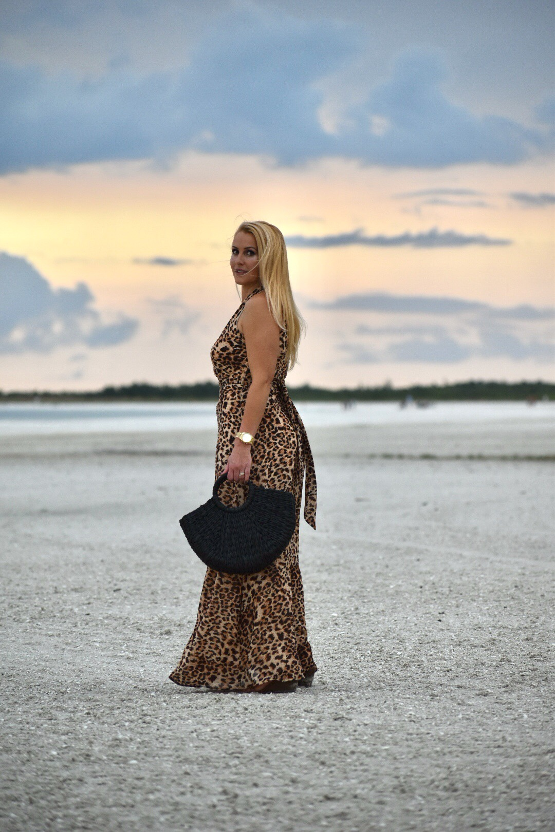 Leopard Dress, Chetta B Leopard Print Dress, Gorjana Jewelry and Black Straw Tote in Marco Island Florida