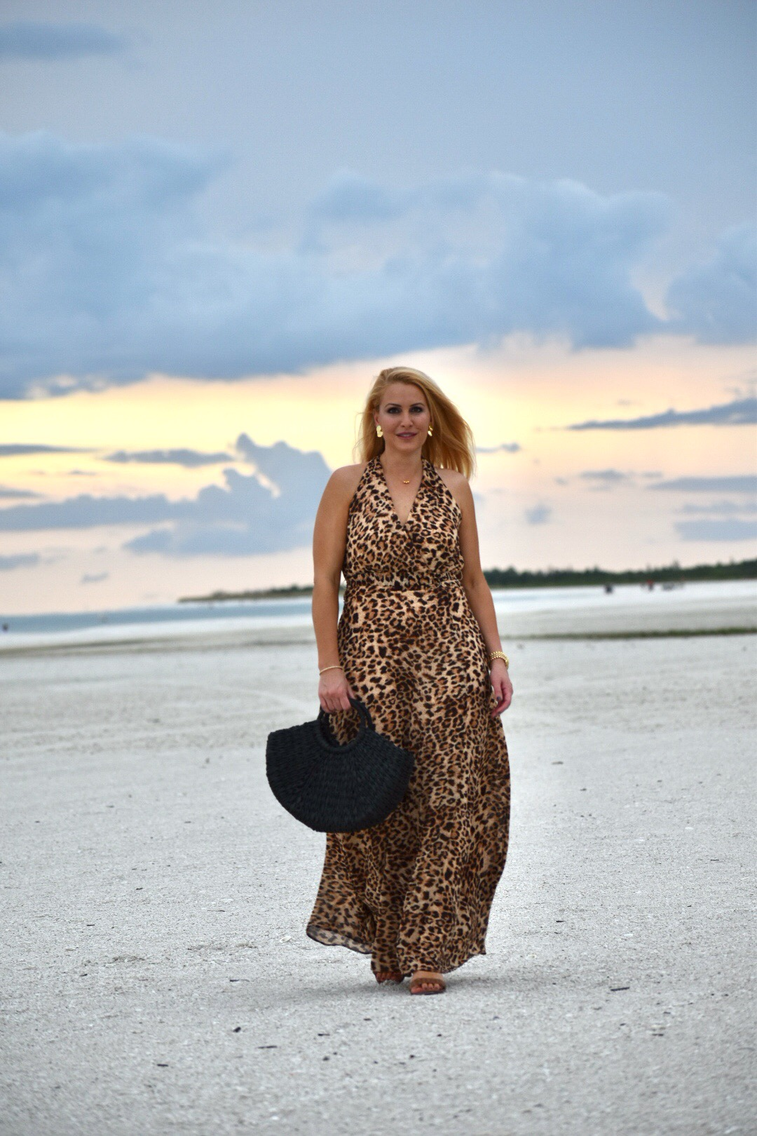 Leopard Outfit, Leopard Dress, Chetta B Leopard Print Dress, Gorjana Jewelry and Black Straw Tote in Marco Island Florida
