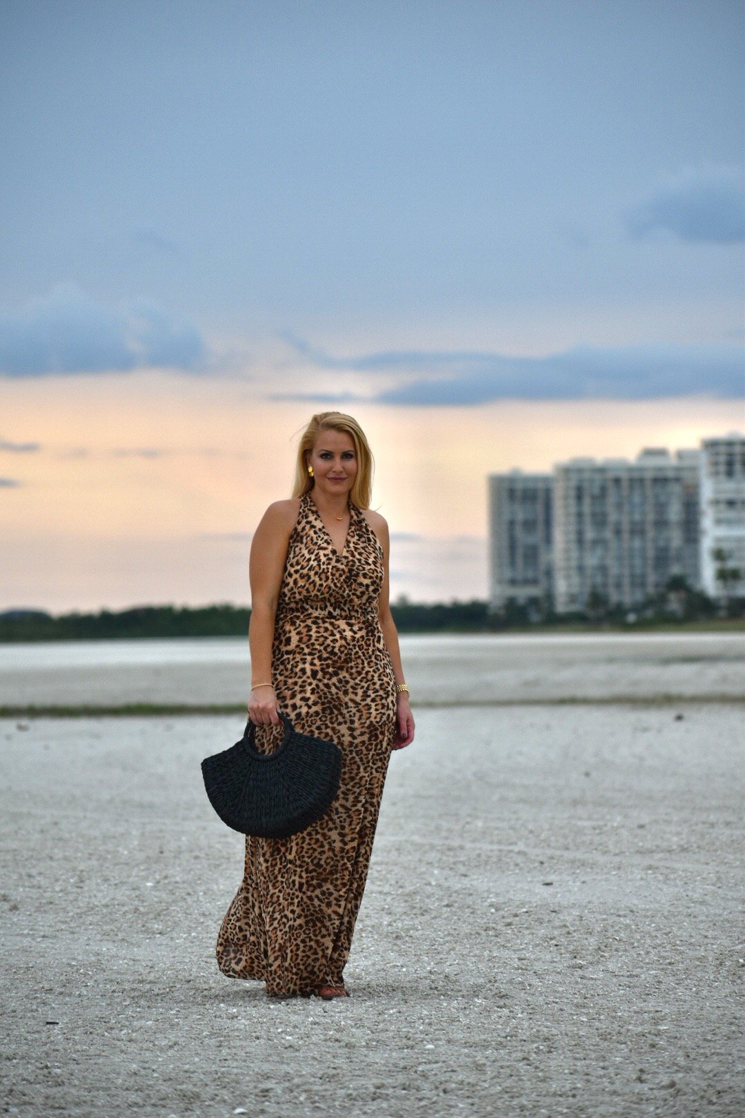 Leopard Print, Leopard Dress, Chetta B Leopard Print Dress, Gorjana Jewelry and Black Straw Tote in Marco Island Florida