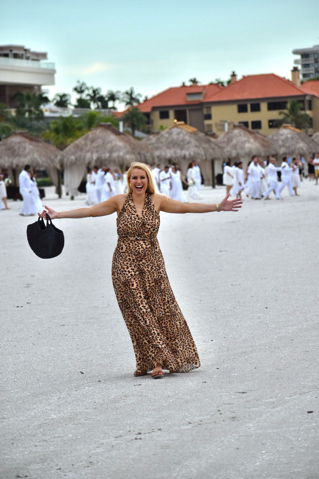 Leopard Dress, Leopard, Chetta B Leopard Print Dress, Gorjana Jewelry and Black Straw Tote in Marco Island Florida