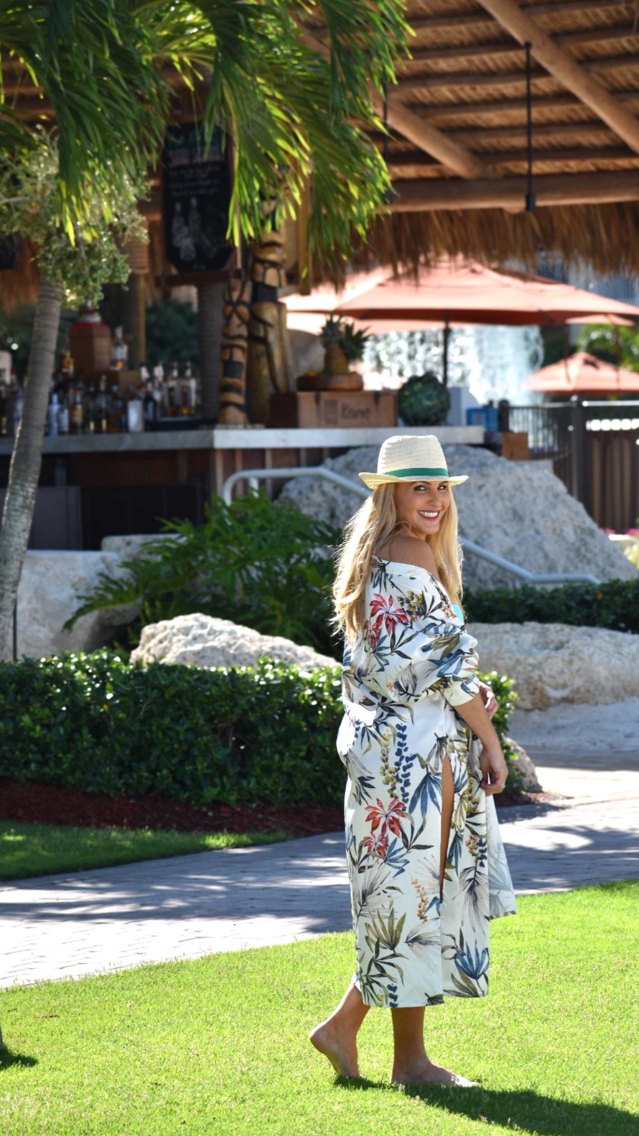Kimono, Floral Print Kimono, Fedora and Bikini in Marco Island Florida