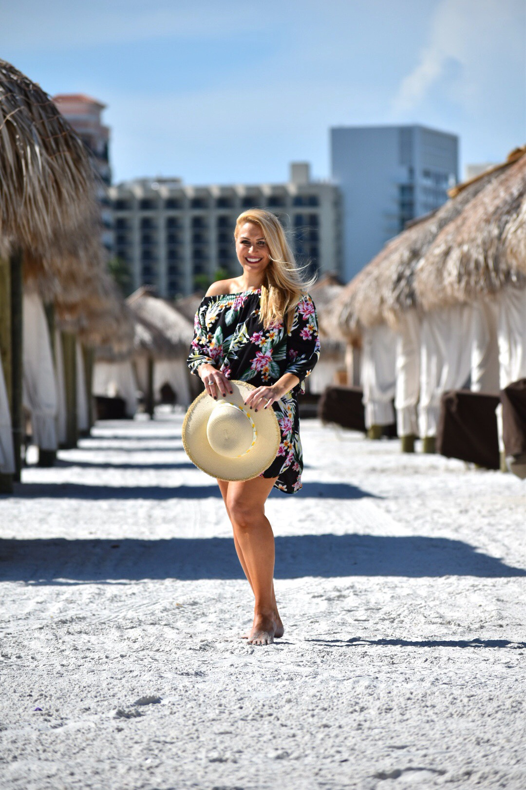 Off The Shoulder Dress, Tropical Dress, Floral Dress, Beach Cover-up and Beach Hat in Marco Island Florida