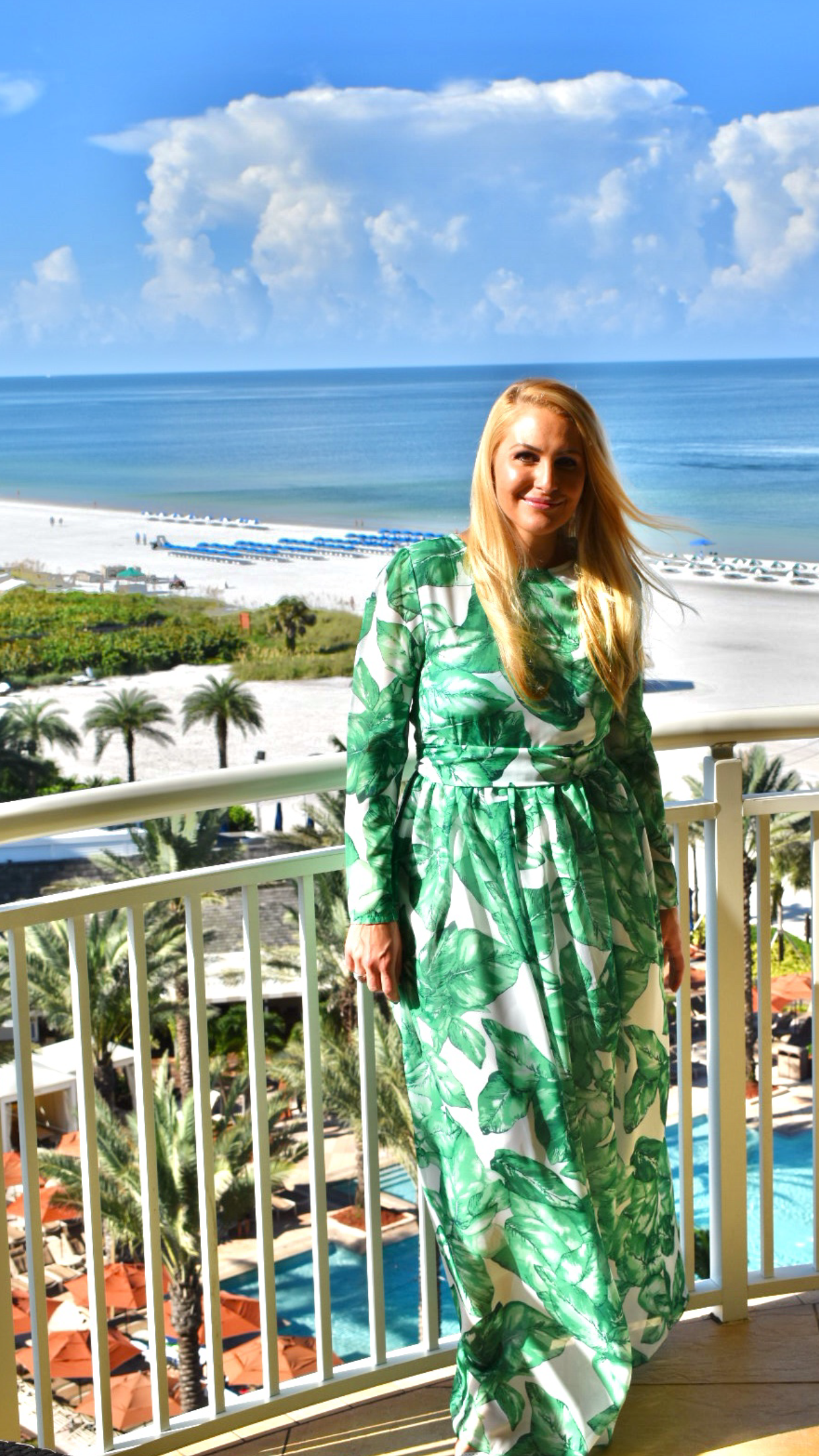 Palm leaf print dress, Shein Palm Leaf print dress, Green and White Dress in Marco Island Florida