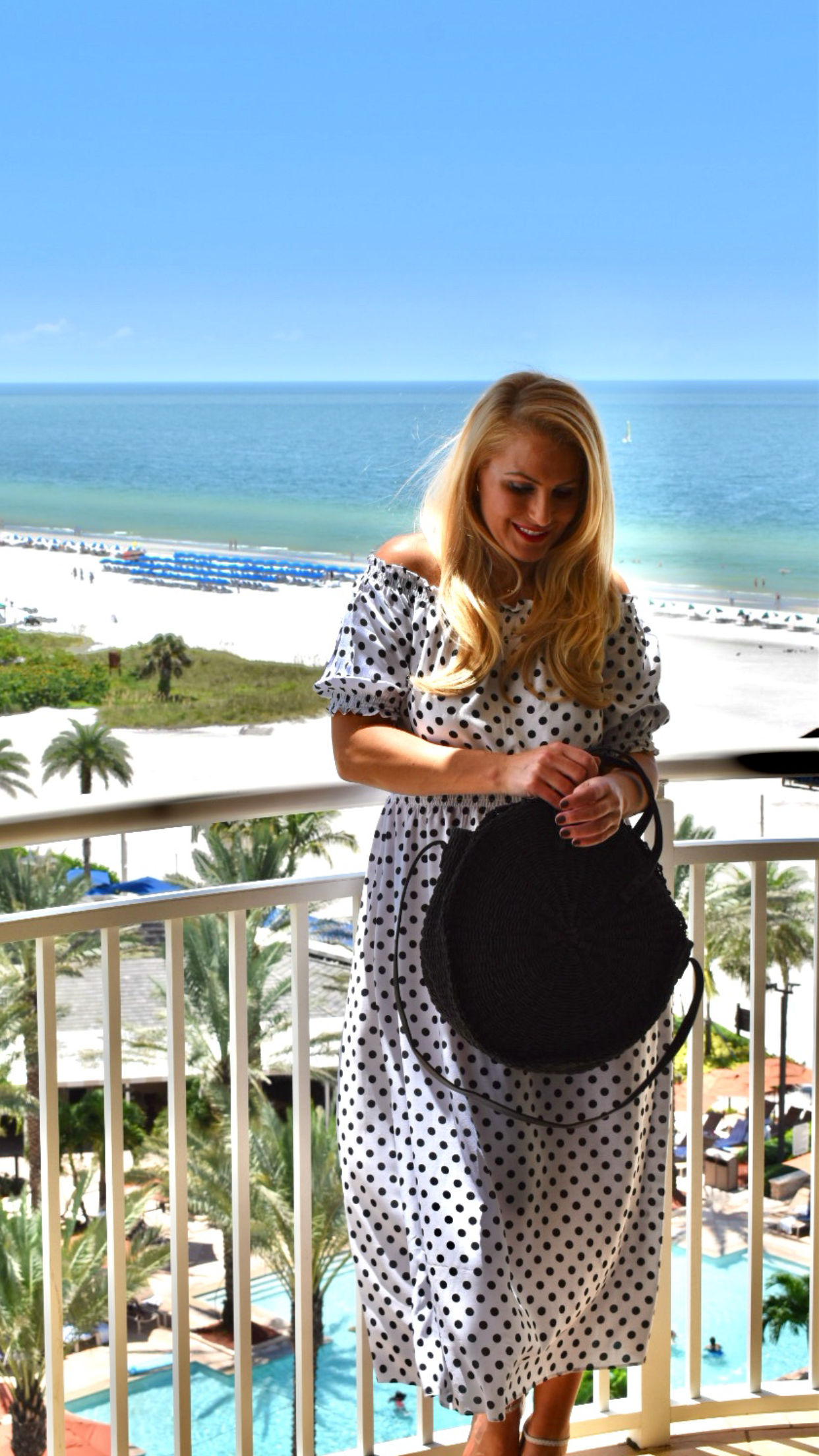 Off The Shoulder Polka Dot Dress and Round Straw Bag