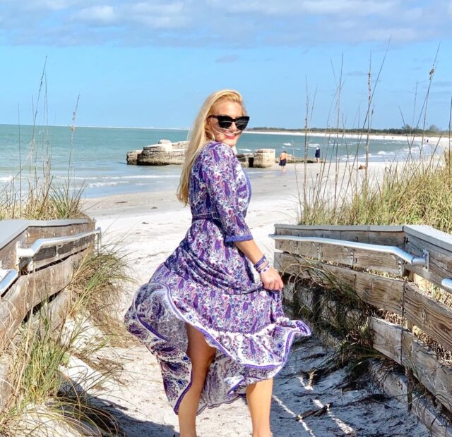 Purple Bohemian Wrap Dress
